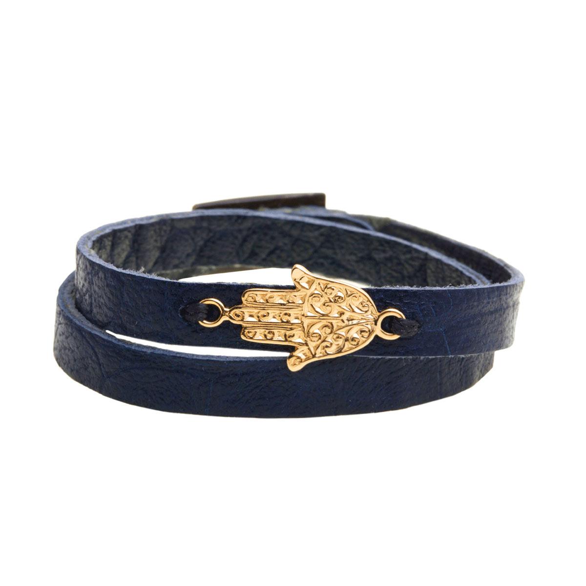 دستبند طلا چرمی سرمه ای دست طرحدار