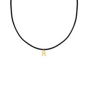 گردنبند طلا چرم حرف R