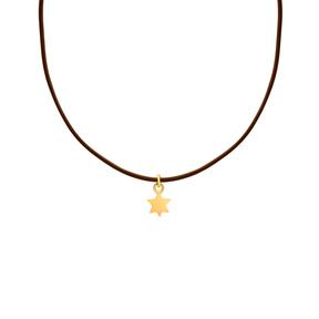 گردنبند طلا چرم ستاره شش ضلعی
