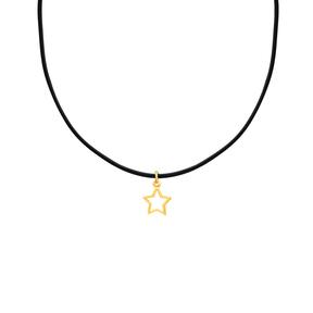 گردنبند طلا چرم ستاره توخالی