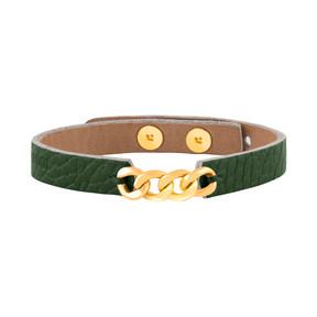 دستبند طلا چرمی سبز چهار حلقه کارتیه