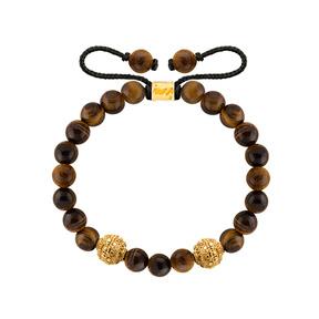 دستبند طلا سنگی دو گوی طرحدار