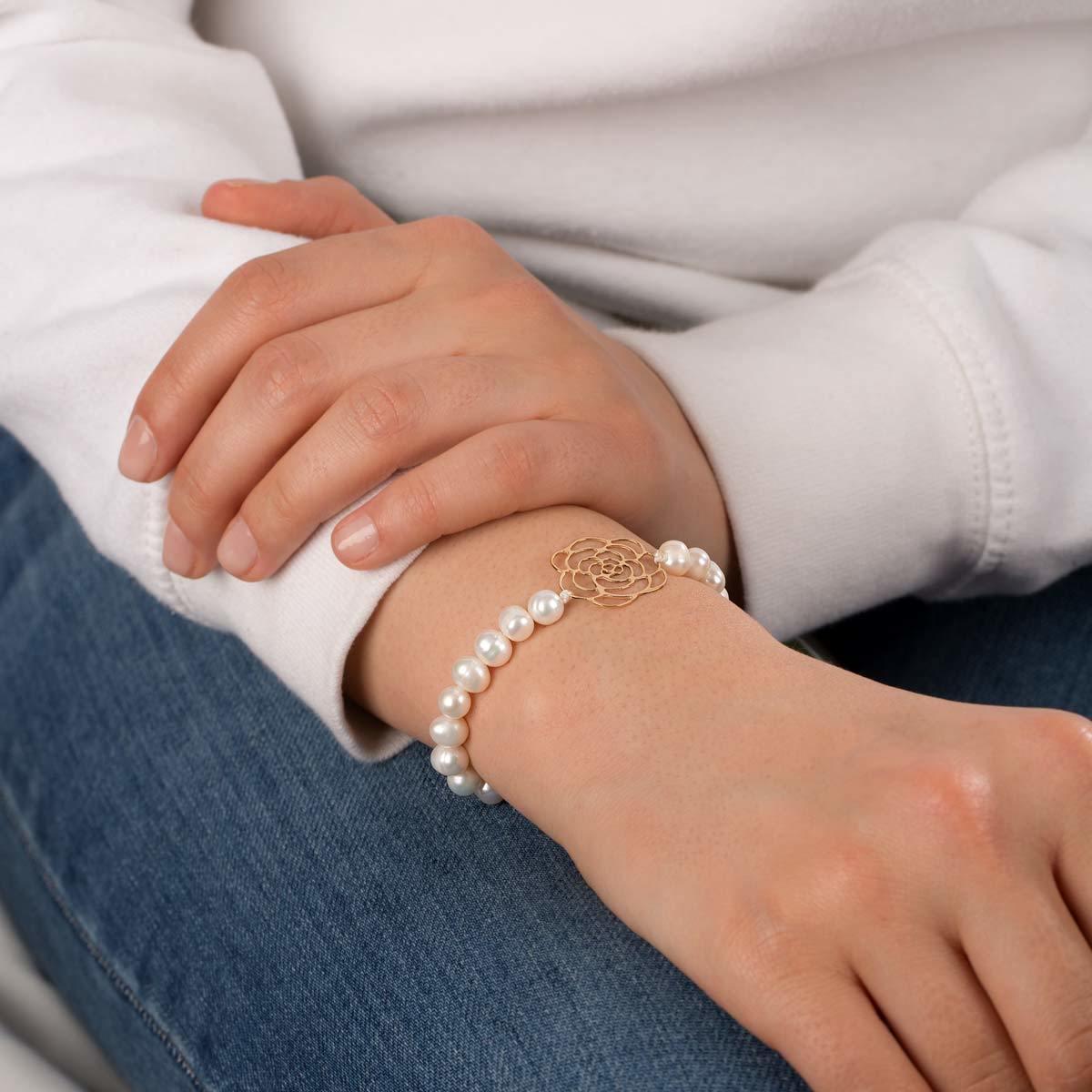 دستبند طلا سنگی گل رز