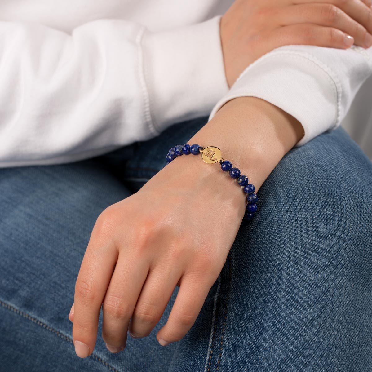 دستبند طلا سنگی نماد ماه آبان