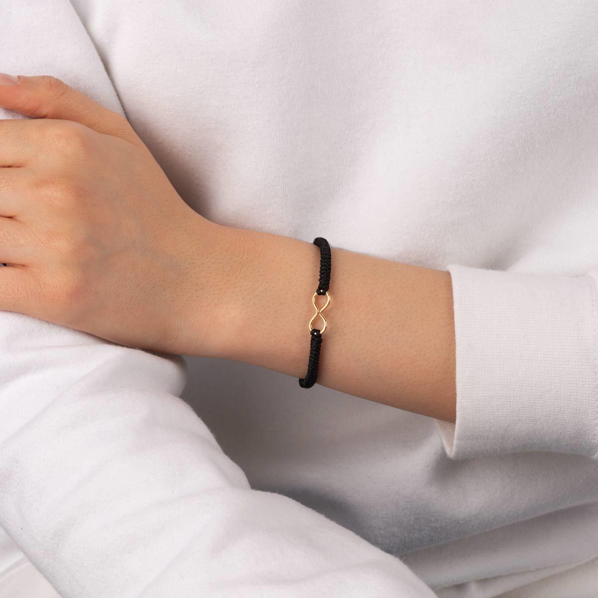 دستبند طلا بافت مشکی بی نهایت