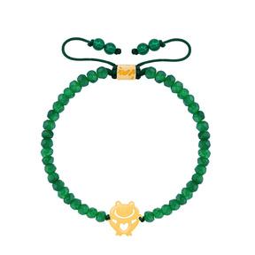 دستبند طلا سنگی بچه گانه قورباغه و یشم