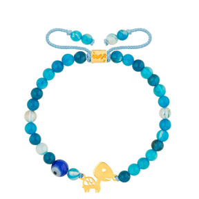 دستبند طلا سنگی بچه گانه لاک پشت و جید آبی