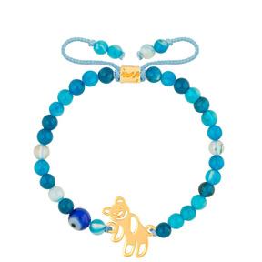 دستبند طلا بچه گانه سنگی تدی و جید آبی