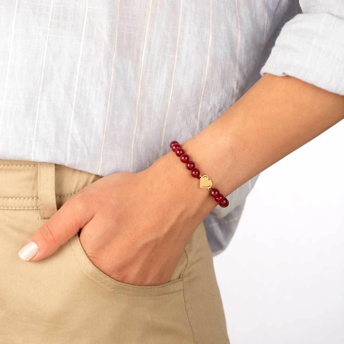 دستبند طلا سنگی قلب و عقیق