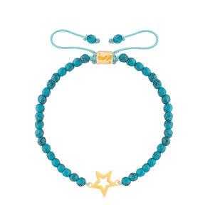دستبند طلا سنگی ستاره توخالی