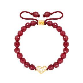 دستبند طلا سنگی قلب اسلیمی و عقیق