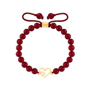 دستبند طلا سنگی دو قلب