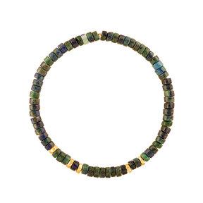 دستبند طلا سنگی پنج مهره و لاجورد