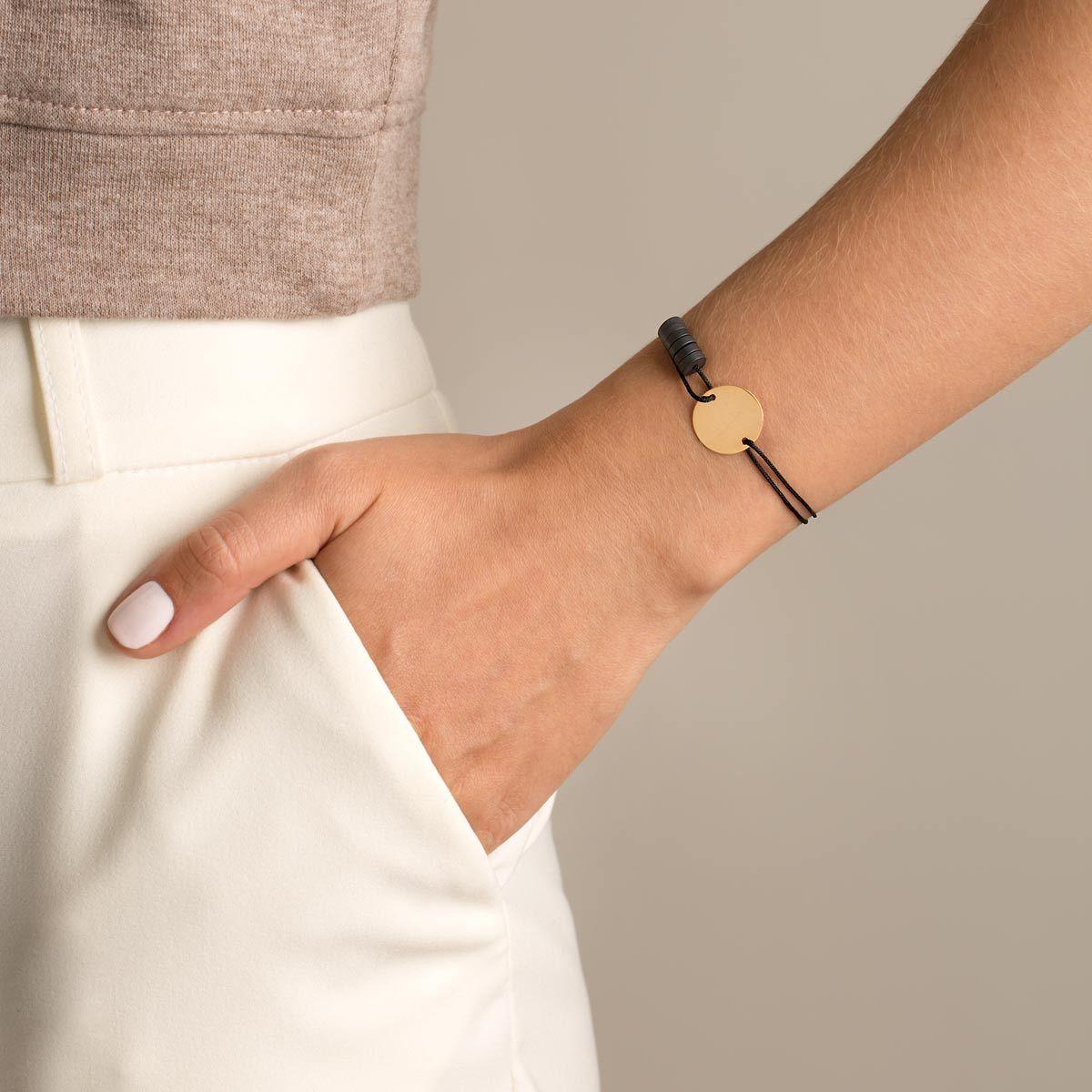 دستبند طلا بافت دایره حکاکی متوسط و حدید