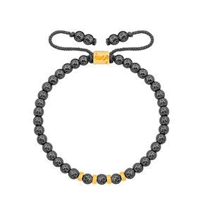 دستبند طلا سنگی چهار مهره و حدید تیره