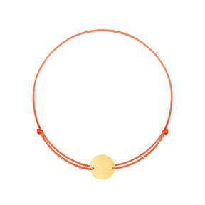دستبند طلا بافت قرمز دایره حکاکی کوچک