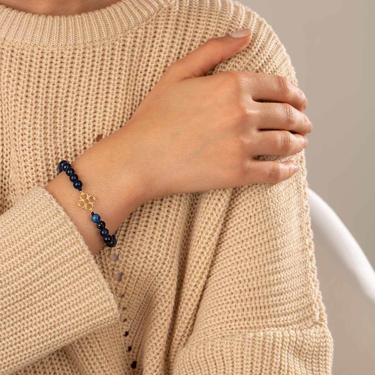 دستبند طلا سنگی اسلیمی و لاجورد