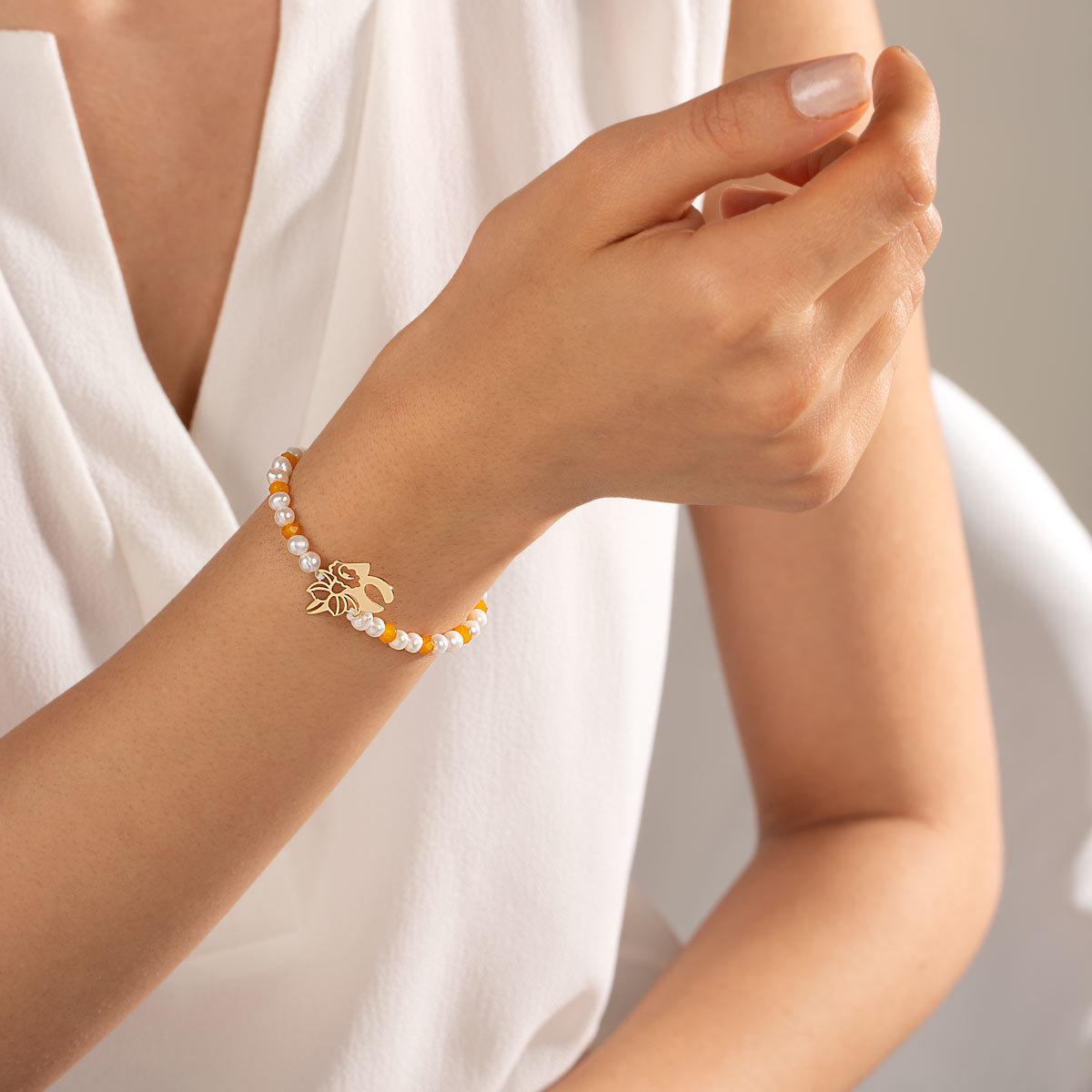 دستبند طلا سنگی عدد چهار