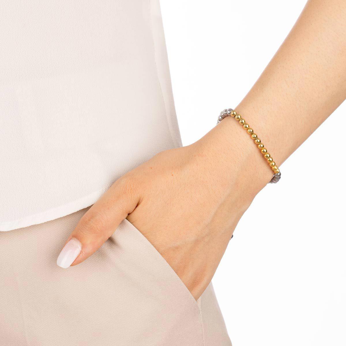 دستبند طلا سنگی چهارده گوی