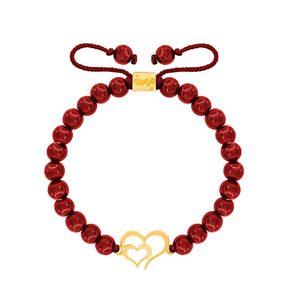 دستبند طلا سنگی دو قلب تو خالی