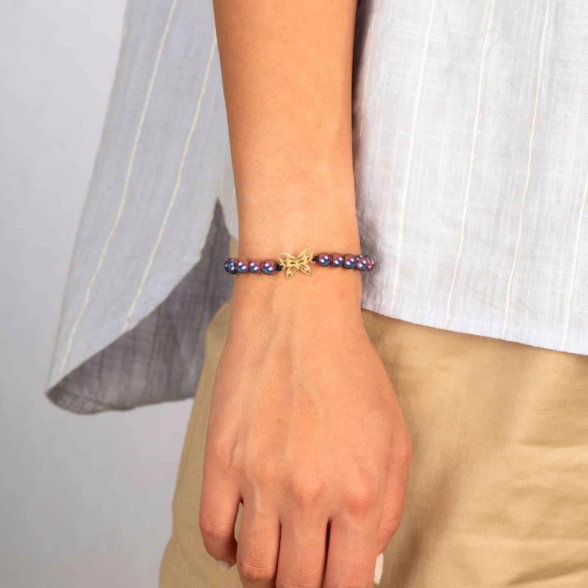 دستبند طلا سنگی پروانه و حدید رنگی