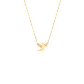 گردنبند طلا فرشته نگین دار