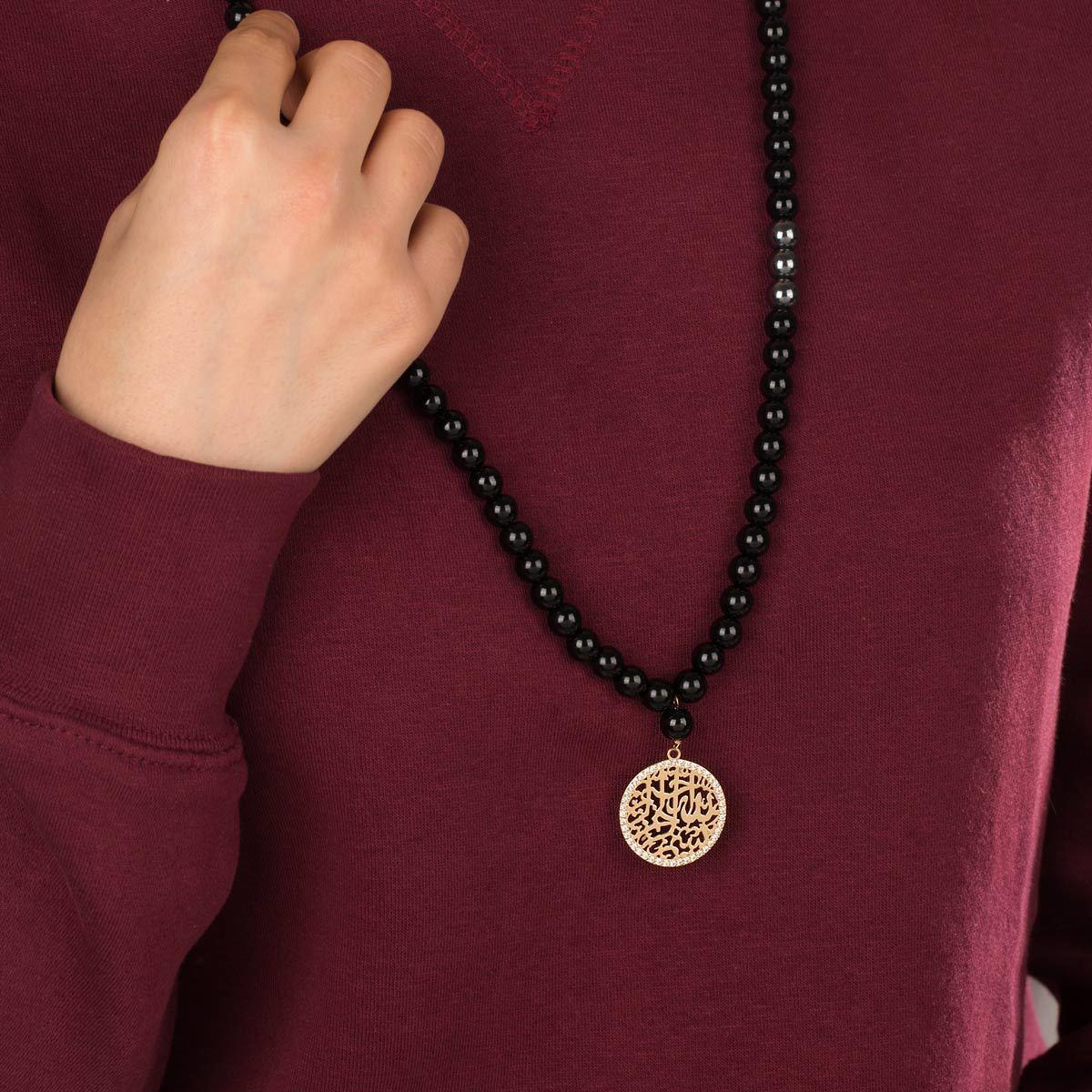 گردنبند طلا سنگی بسم الله نگین دار