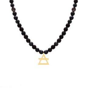 گردنبند طلا سنگی عنصر خاک کوچک