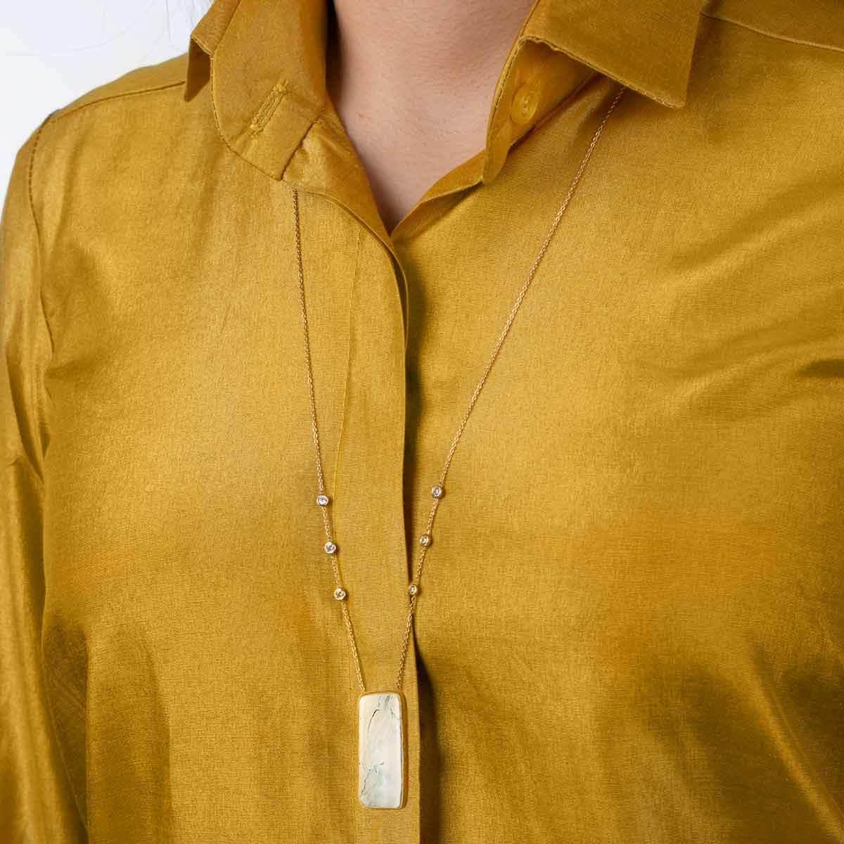 گردنبند طلا پاندلا مستطیل