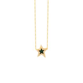 گردنبند طلا ستاره و مرمر سبز