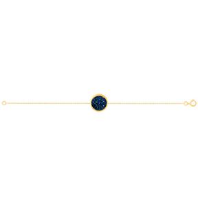 دستبند طلا کوارتز آبی متوسط