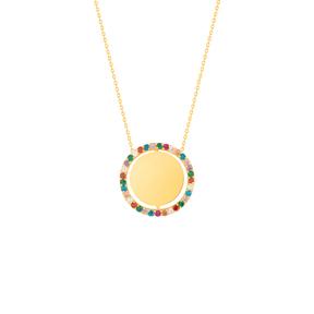 گردنبند طلا دایره متحرک و نگین رنگی