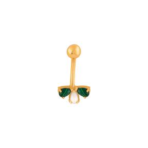 پیرسینگ طلا مرمر سبز و مروارید