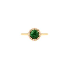 انگشتر طلا تک رینگ دایره مینِلاوا سبز