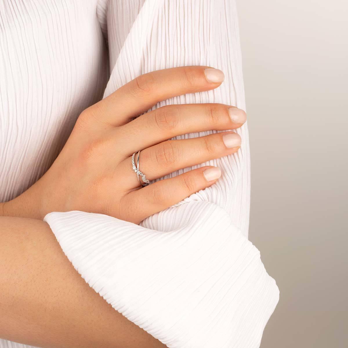 انگشتر طلا سفید دو رینگ موج