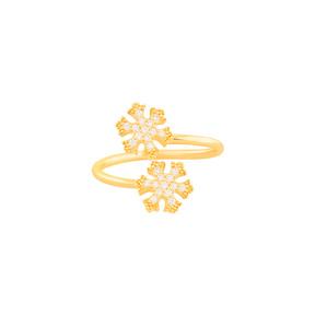 انگشتر طلا دانه برف نگین دار
