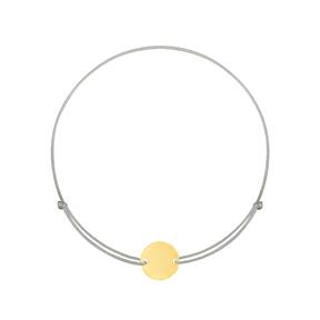 دستبند طلا بافت طوسی دایره حکاکی کوچک