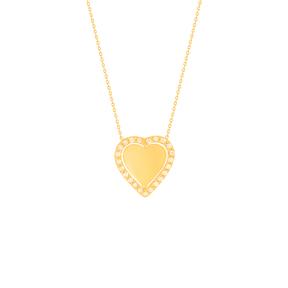 گردنبند طلا قلب متحرک و نگین سفید