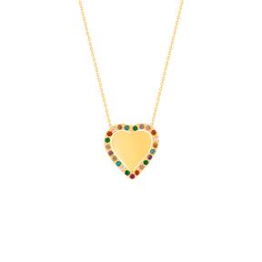 گردنبند طلا قلب متحرک و نگین رنگی