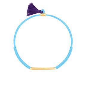 دستبند طلا بافت آبی روشن دوستی با مهرهدستبند طلا بافت آبی روشن دوستی با مهره