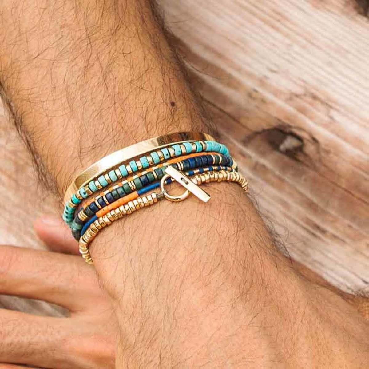 دستبند طلا مهره و قفل پرسته