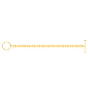 دستبند زنجیری طلا هرمس و قفل دایره