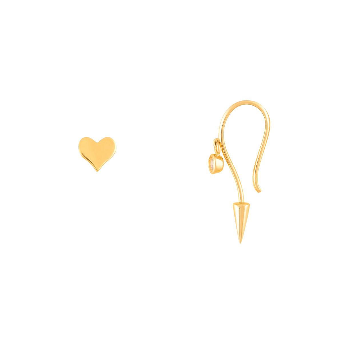 گوشواره طلا عصایی لونا و قلب